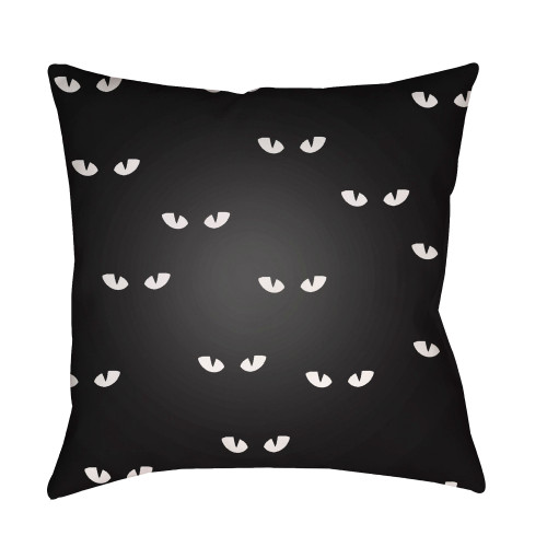 """18"""" Black and White Eyes Printed Square Throw Pillow Cover - IMAGE 1"""