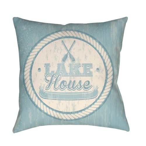 "18"" Pale Blue and Beige ""LAKE House"" Printed Square Throw Pillow Cover with Knife Edge - IMAGE 1"
