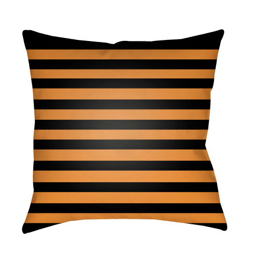 """18"""" Orange and Black Striped Print Square Throw Pillow Cover - IMAGE 1"""