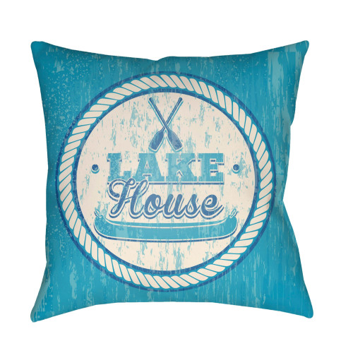 """18"""" Sky Blue and Beige """"LAKE House"""" Printed Square Throw Pillow Cover with Knife Edge - IMAGE 1"""