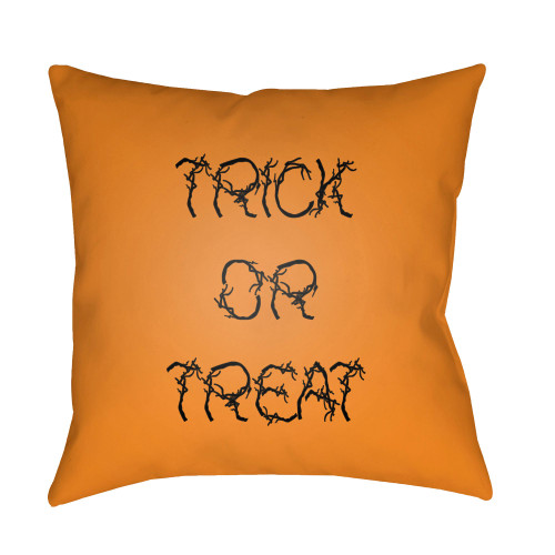 """18"""" Orange and Black """"TRICK OR TREAT"""" Printed Square Throw Pillow Cover - IMAGE 1"""