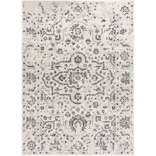 2' x 3' Distressed Oriental Floral Design Beige and Gray Rectangular Machine Woven Area Throw Rug - IMAGE 1