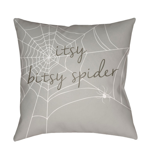 """18"""" Gray and White """"itsy bitsy spider"""" Printed Square Throw Pillow Cover with Knife Edge - IMAGE 1"""
