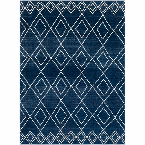 2' x 3' Diamond Pattern Navy Blue and Ivory Rectangular Machine Woven Area Throw Rug - IMAGE 1