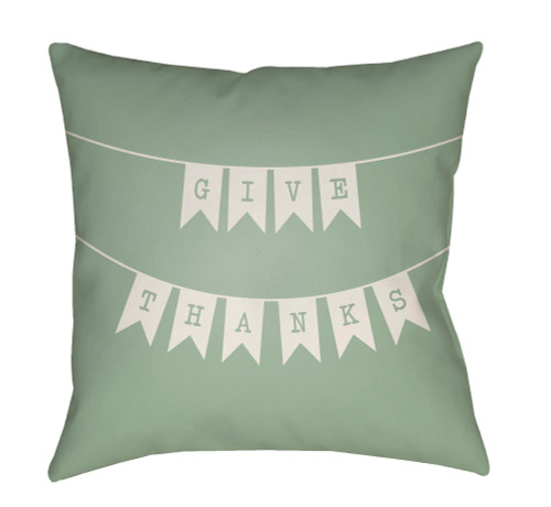 """18"""" Green and Gray """"GIVE THANKS"""" Printed Square Throw Pillow Cover - IMAGE 1"""