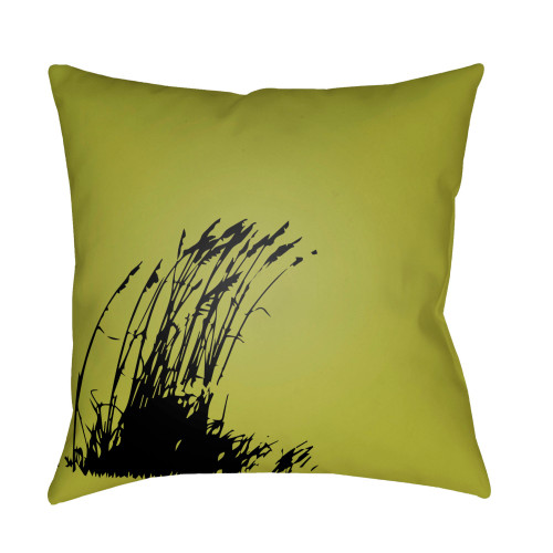 """18"""" Olive Green and Black Digitally Printed Grass Square Throw Pillow Cover - IMAGE 1"""