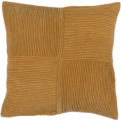 """18"""" Burnt Orange Pleated Square Throw Pillow Cover - IMAGE 1"""