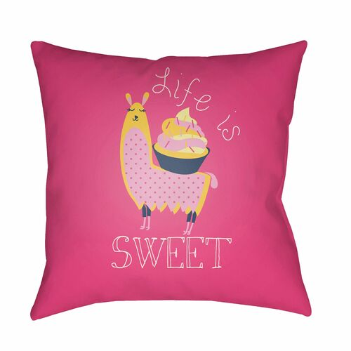 """18"""" Pink and Yellow Printed """"Life is Sweet"""" Design Square Woven Throw Pillow Cover with Knife Edge - IMAGE 1"""