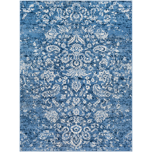 2' x 3' Distressed Oriental Design Navy Blue and Ivory Rectangular Machine Woven Area Throw Rug - IMAGE 1