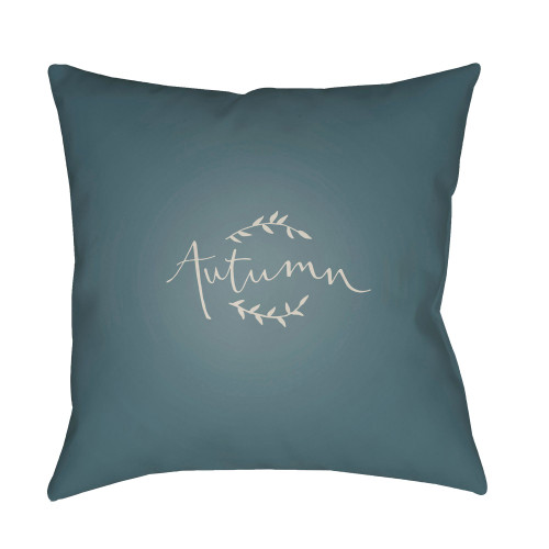 "18"" Teal Green and White ""Autumn"" Printed Square Throw Pillow Cover - IMAGE 1"