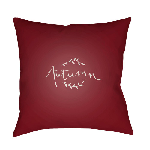 """18"""" Wine Red and White """"Autumn"""" Printed Square Throw Pillow Cover - IMAGE 1"""