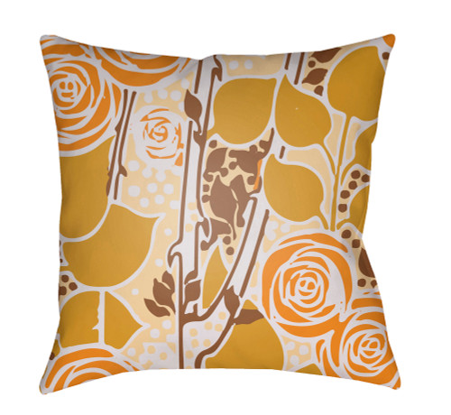 """18"""" Yellow and Orange Floral Square Throw Pillow Cover with Knife Edge - IMAGE 1"""