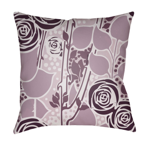 "18"" Purple and White Floral Square Throw Pillow Cover with Knife Edge - IMAGE 1"