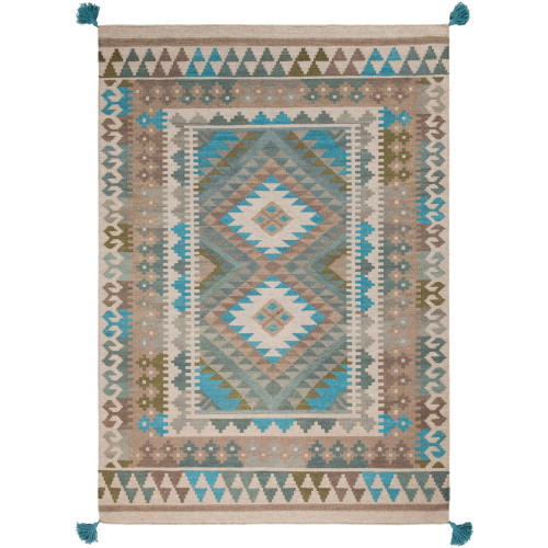 8' x 10' Contemporary Style Green and Brown Rectangular Area Throw Rug - IMAGE 1