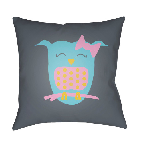 """18"""" Gray and Blue Printed Owl Design Square Woven Throw Pillow Cover with Knife Edge - IMAGE 1"""