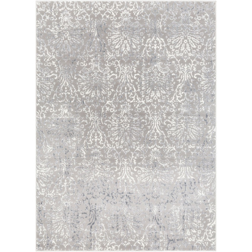 2' x 3' Distressed Damask Design Gray and White Rectangular Machine Woven Area Throw Rug - IMAGE 1