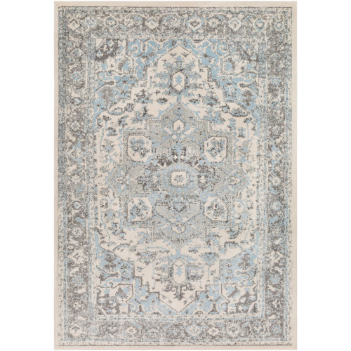 2' x 3' Distressed Finish Gray and Blue Oriental Patterned Rectangular Machine Woven Area Rug - IMAGE 1