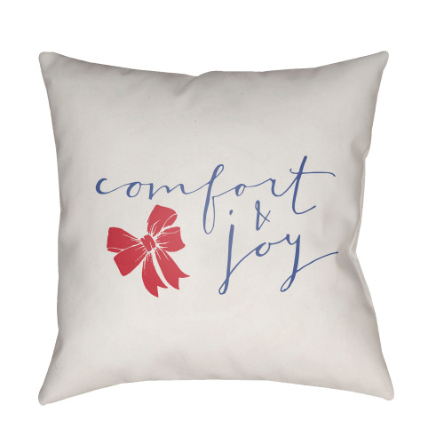 """18"""" White and Blue """"comfort and joy"""" Throw Pillow Cover - IMAGE 1"""