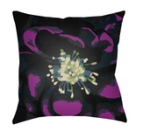 """18"""" Floral Purple and Black Square Throw Pillow Cover - IMAGE 1"""
