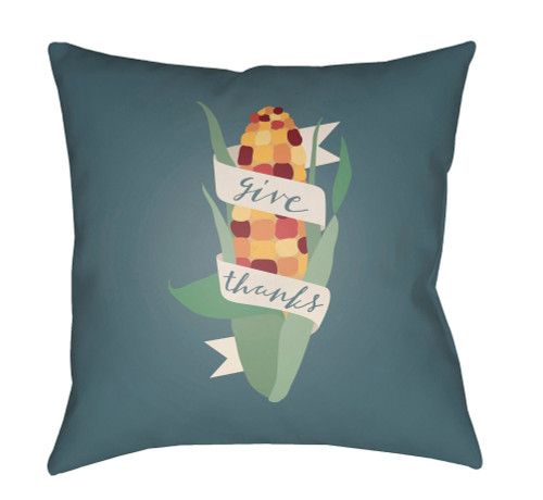 """18"""" Gray and Green """"give thanks"""" Printed Square Throw Pillow Cover - IMAGE 1"""