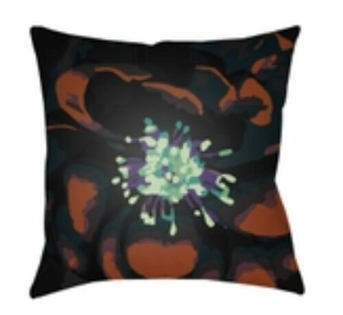 """18"""" Floral Brown and Black Square Throw Pillow Cover - IMAGE 1"""