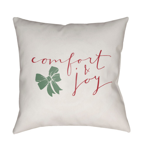 """18"""" White and Red """"comfort and joy"""" Throw Pillow Cover - IMAGE 1"""