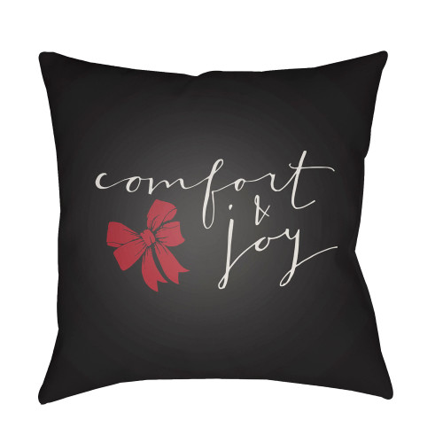 """18"""" Black """"Comfort and Joy"""" Printed Square Throw Pillow Cover - IMAGE 1"""