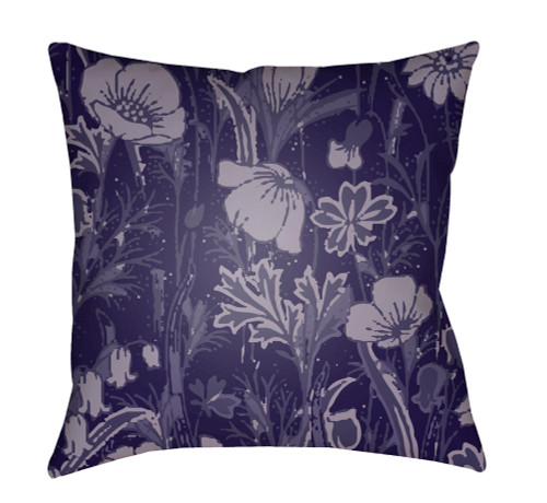 """18"""" Ivory and Purple Floral Square Throw Pillow Cover with Knife Edge - IMAGE 1"""