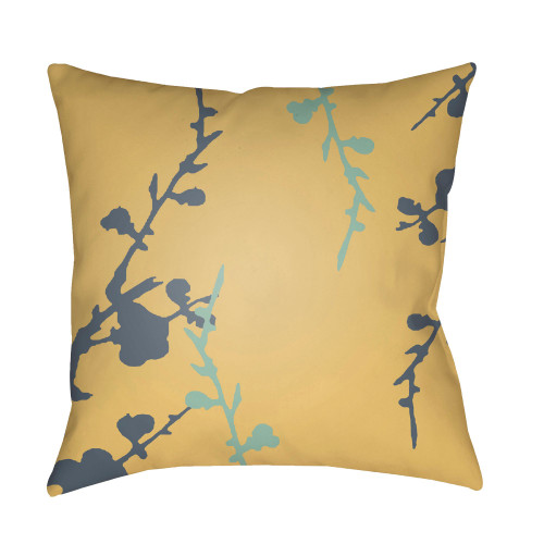 "18"" Yellow and Blue Floral Printed Square Throw Pillow Cover - IMAGE 1"