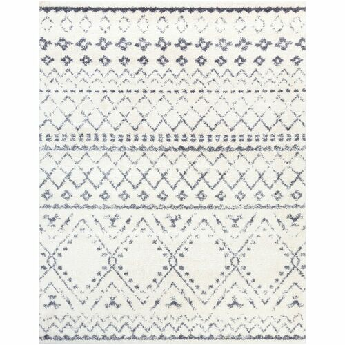 2' x 3' Moroccan Design White and Gray Rectangular Machine Woven Area Throw Rug - IMAGE 1