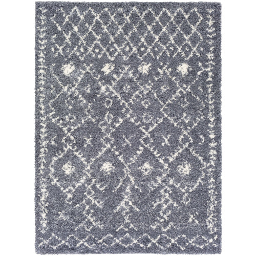 2' x 3'  Moroccan Pattern Medium Gray and White Rectangular Machine Woven Area Throw Rug - IMAGE 1