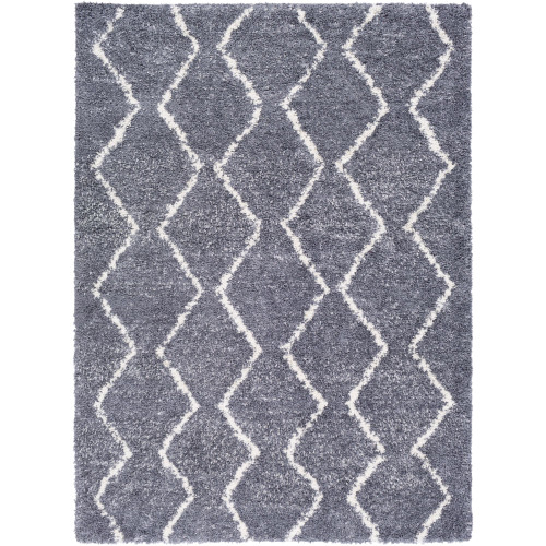 2' x 3'  Moroccan Design White and Medium Gray Rectangular Machine Woven Area Throw Rug - IMAGE 1