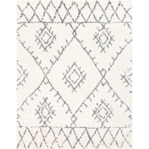 2' x 3'  Moroccan Style Pattern White and Gray Rectangular Machine Woven Area Throw Rug - IMAGE 1