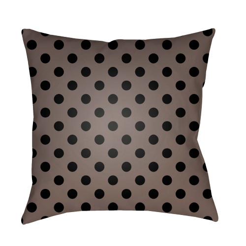 """18"""" Brown and Black Polka Dots Square Throw Pillow Cover - IMAGE 1"""