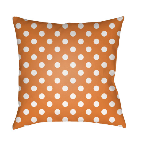 "18"" Orange and White Polka Dots Square Throw Pillow Cover - IMAGE 1"