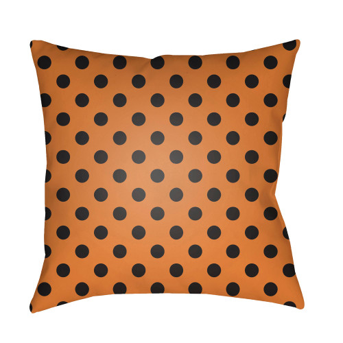 """18"""" Orange and Black Polka Dots Square Throw Pillow Cover - IMAGE 1"""