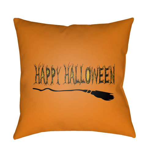 """18"""" Orange and Black """"HAPPY HALLOWEEN"""" Printed Square Throw Pillow Cover with Knife Edge - IMAGE 1"""