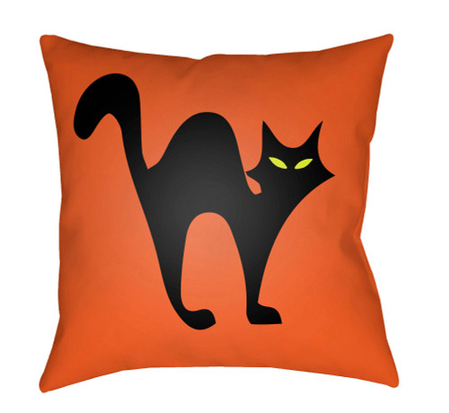 "18"" Orange and Black Cat Printed Square Throw Pillow Cover with Knife Edge - IMAGE 1"