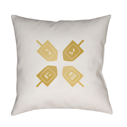 """18"""" White and Yellow Digitally Printed Square Throw Pillow Cover - IMAGE 1"""