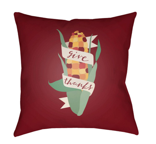 """18"""" Red and Green """"give thanks"""" Printed Square Throw Pillow Cover - IMAGE 1"""