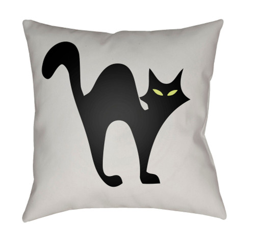 """18"""" White and Black Cat Printed Square Throw Pillow Cover with Knife Edge - IMAGE 1"""