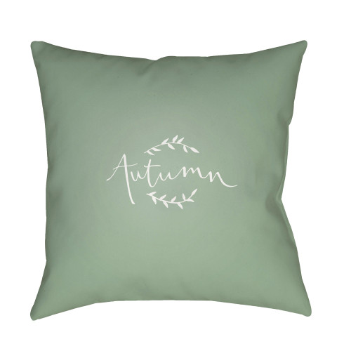 "18"" Green and White ""Autumn"" Printed Square Throw Pillow Cover - IMAGE 1"