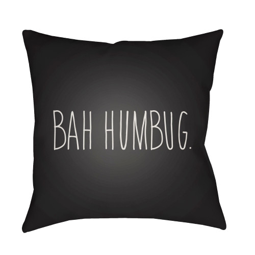 "18"" Black and White ""BAH HUMBUG"" Printed Throw Pillow Cover - IMAGE 1"