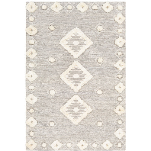 9' x 12' Contemporary Style Gray and Cream White Rectangular Area Throw Rug - IMAGE 1