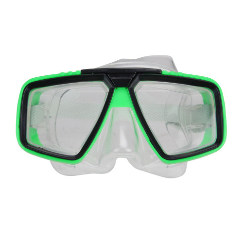 """6.25"""" Green and Clear Adjustable Strap Children's Recreational Swim Mask - IMAGE 1"""