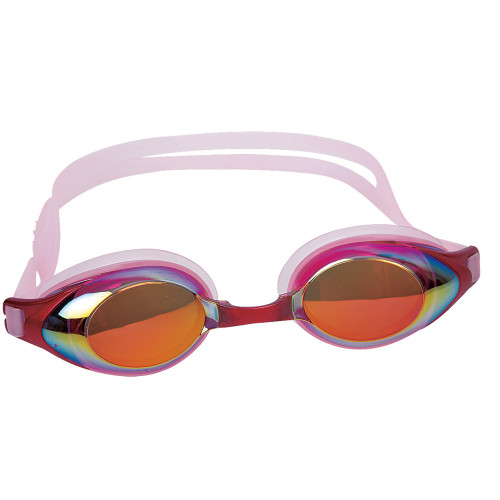 """7"""" Pink Mirrored Competition Swimming Goggles - IMAGE 1"""