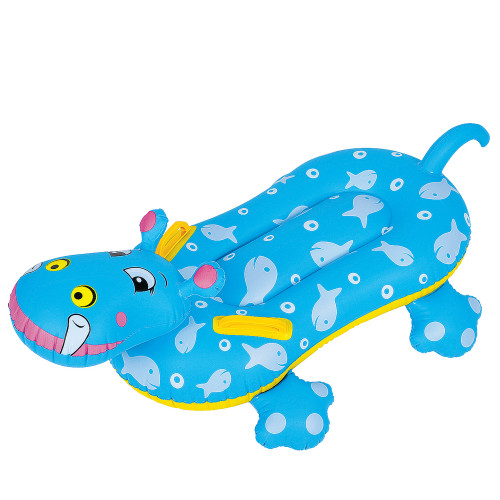 Blue and Yellow Children's Inflatable Hippo Swimming Pool Rider, 37-Inch - IMAGE 1