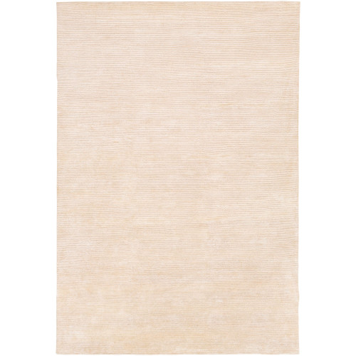 4' x 6' Solid Beige Hand Knotted Rectangular Area Throw Rug - IMAGE 1