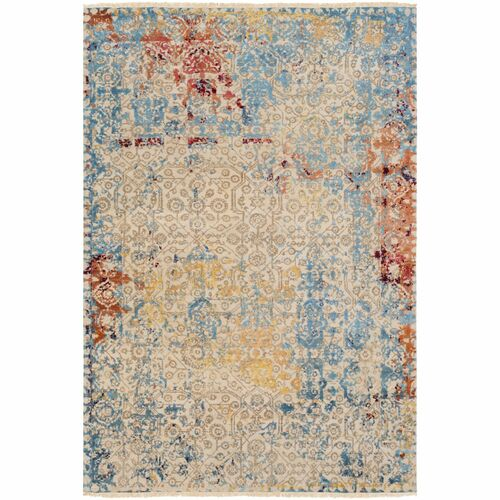 6' x 9' Distressed Finish Brown and Blue Rectangular Area Throw Rug - IMAGE 1