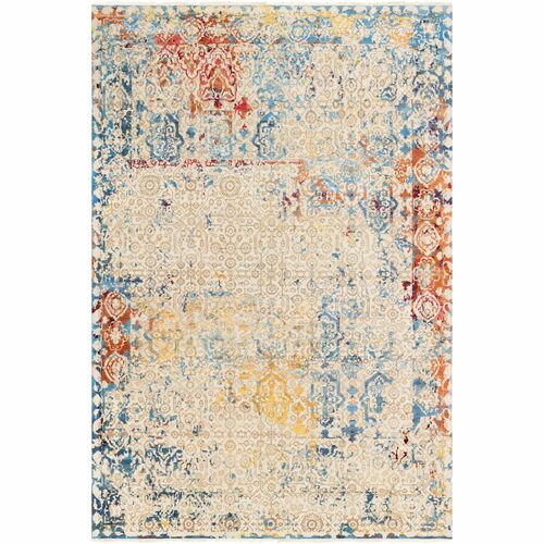 9' x 13' Distressed Finish Brown and Blue Rectangular Area Throw Rug - IMAGE 1